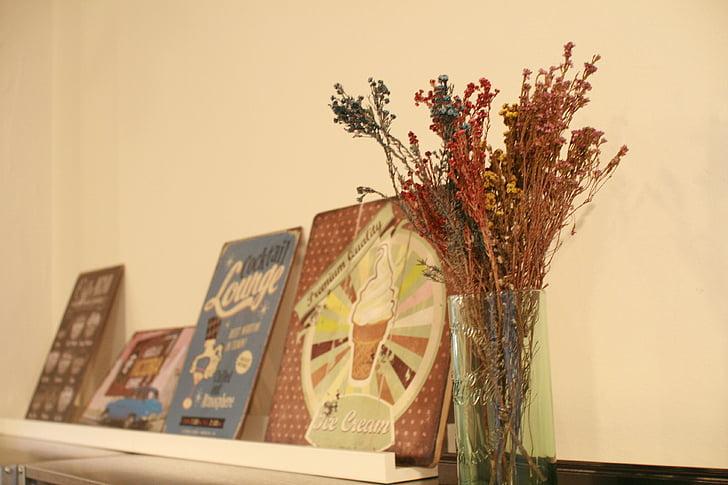 flors seques, estructura de fotografia, cafeteria