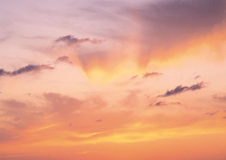 декорації, Захід сонця, жовтий, рожевий, небо, вечірні Новини, вечірнє небо