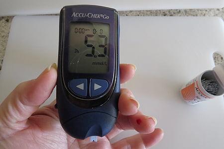 糖尿病, 血液, 糖尿病, 糖, 医疗, 测试, 药物