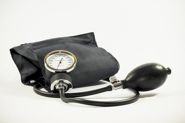 negre, mesurador de pressió de sang, Tensiòmetre, equips, calibre, salut, instrument