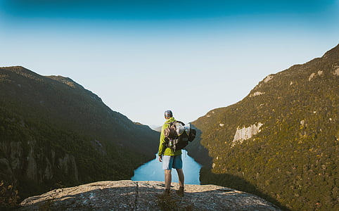nature, mountains, trees, river, sky, people, man