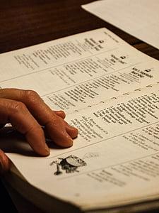 llibre de cuina, receptes, aliments, cuina, llibre, document, mà