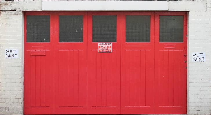 topelt uksed, punane, sissepääs, välju, hoone, garaaž, arhitektuur