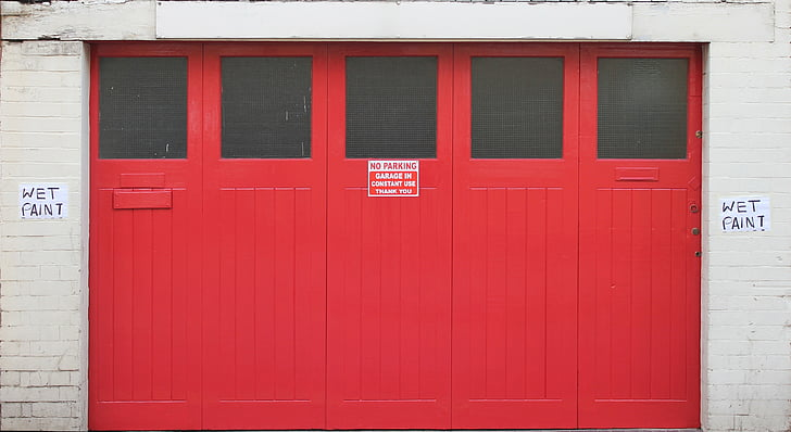 portes dobles, vermell, entrada, sortida, edifici, garatge, arquitectura