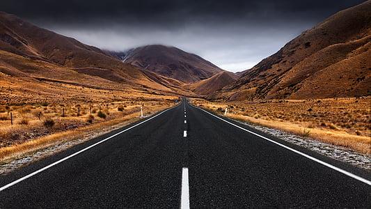 carrer, carretera, infinit, recta, sense fi, Perspectiva, asfalt