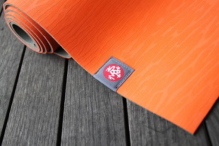 Yoga, tapis, mode de vie, Balance, Manduka, orange, bois