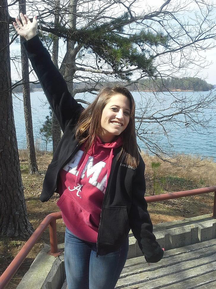 kvinde, Pige, Happy day, på søen, have det sjovt, Glad, afslappet