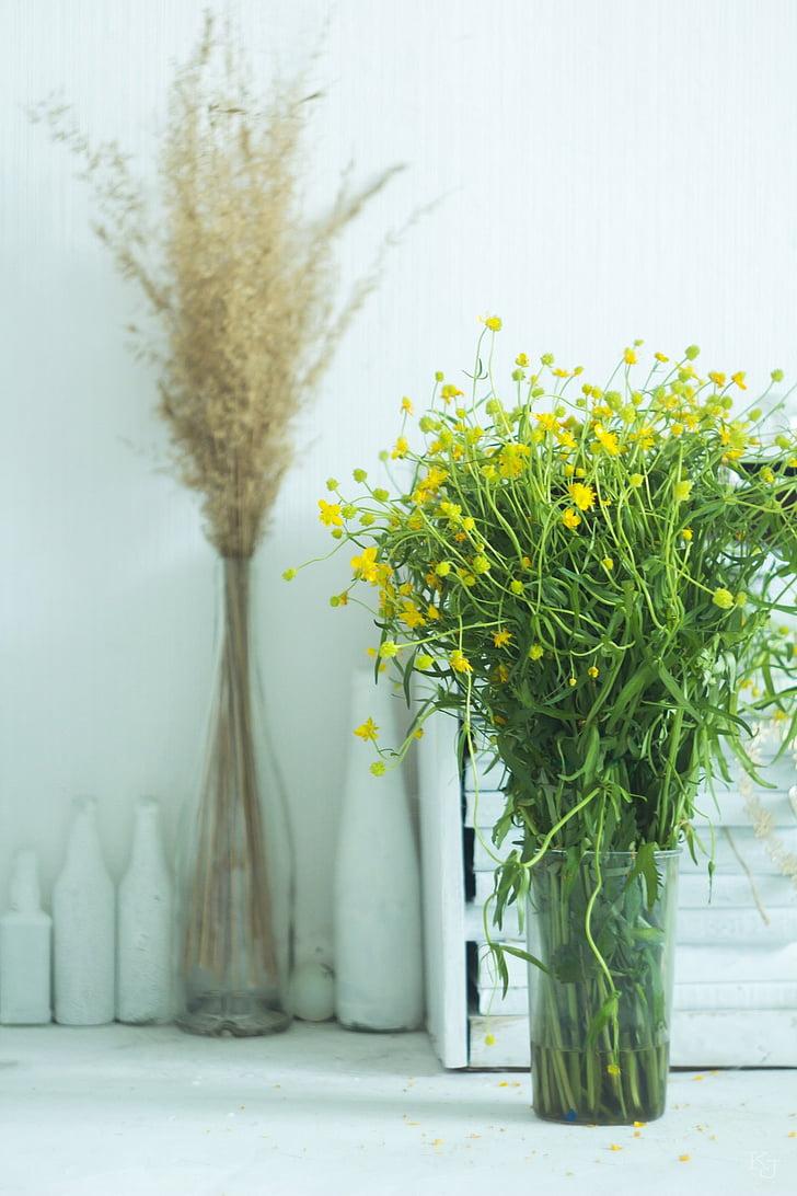 Váza, letné, žltá, záružlie, letné kvety, rastlín, Príroda