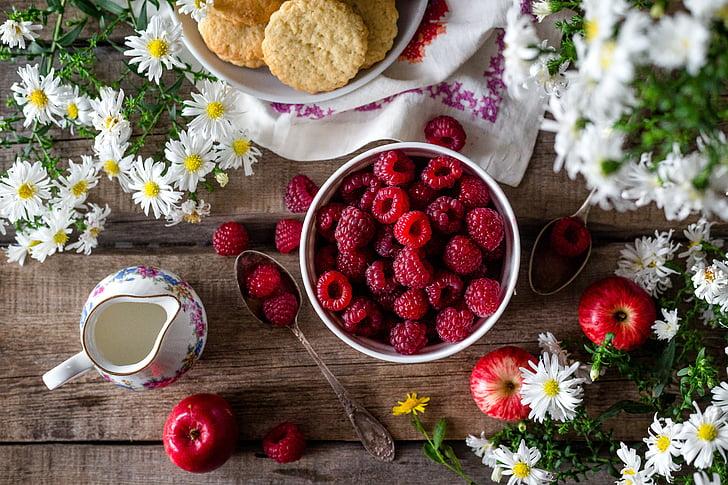 framboise, Berry, mûres, baies de la framboise, été, jardin, Closeup