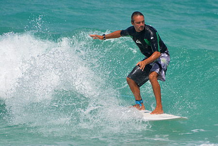 mer, océan, gens, homme, planche de surf, sport, Surf