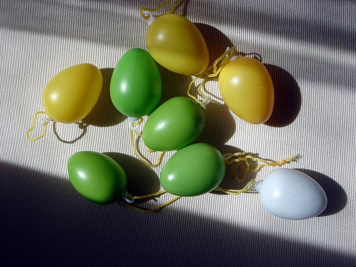 ous, decoració, verd, groc, Carol, primavera, celebració