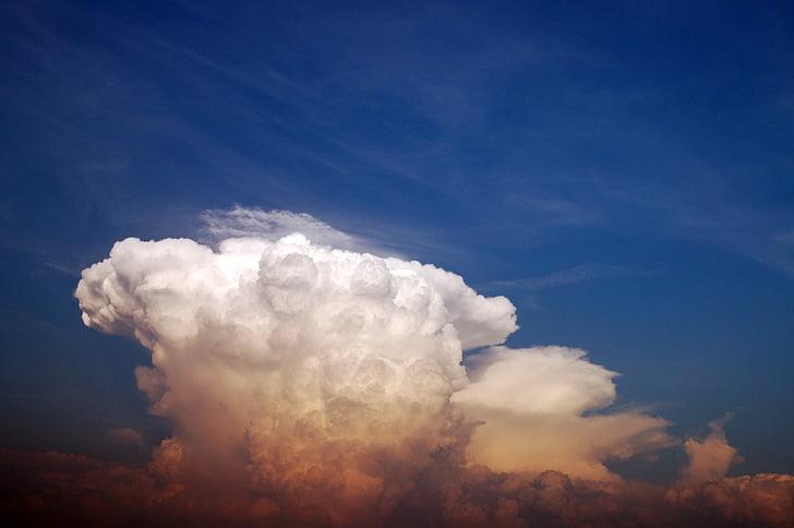 Chmura, niebo, niebo chmury, niebieski, biały, błękitne niebo, na tle niebieskiego nieba