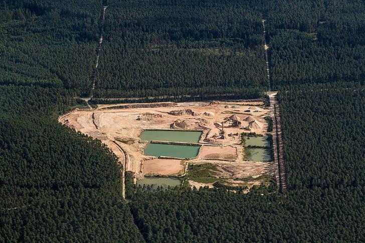 aerial view, swiss francs, kieswerk, forest, nature