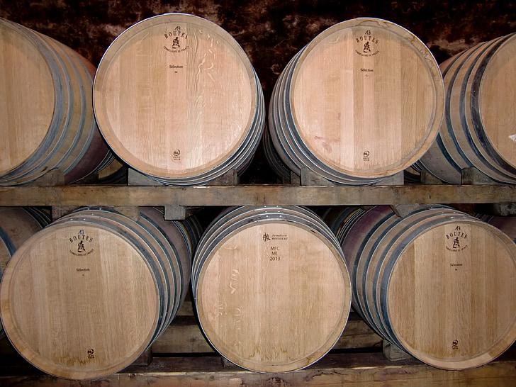 kelder, veini vaatides, barrelit, veini, Keller, barrel, puidust tünnid