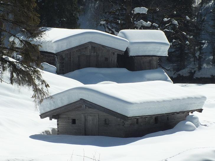 vinter, hytte, sne, dejligt vejr, vintersport, Dream day, bjerge