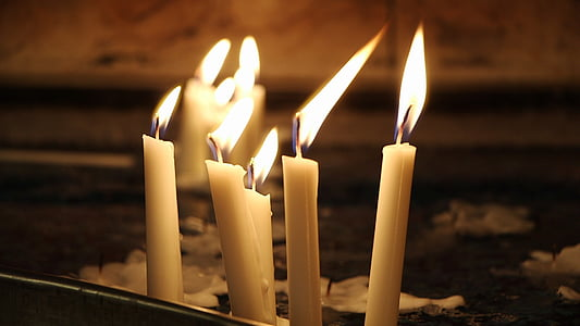 candles, dark, church, candlelight, tranquil, warm, flame