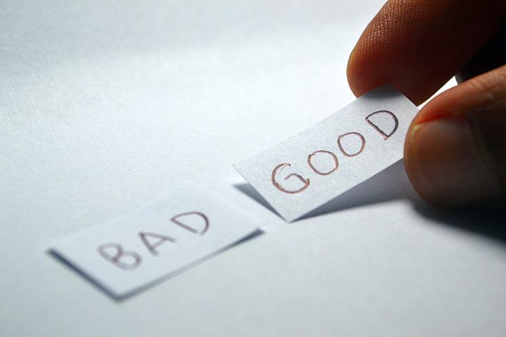 bona, dolent, contrari, elecció, triar, decisió, positiu