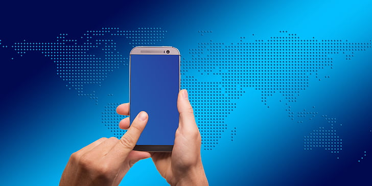 smartphone, touch, finger, continents, earth, globe, global