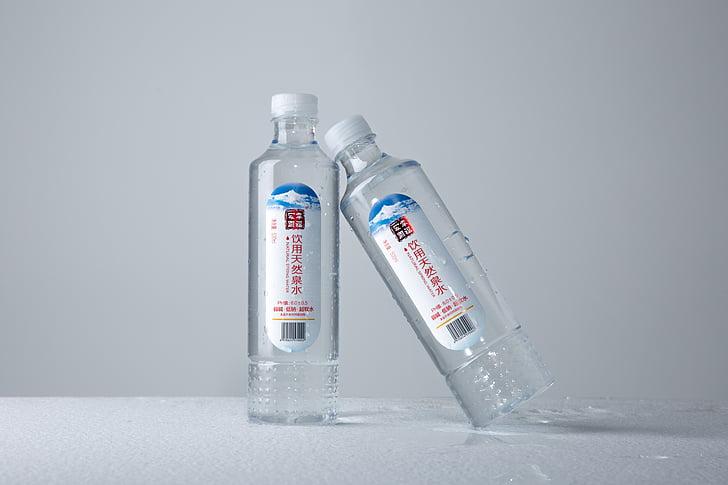 encara l'aigua mineral, ampolla, fotografia, crua, beguda, plàstic, aigua potable