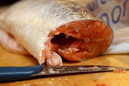 tallar, carn, crua, aliments, peix, salmó, Filet