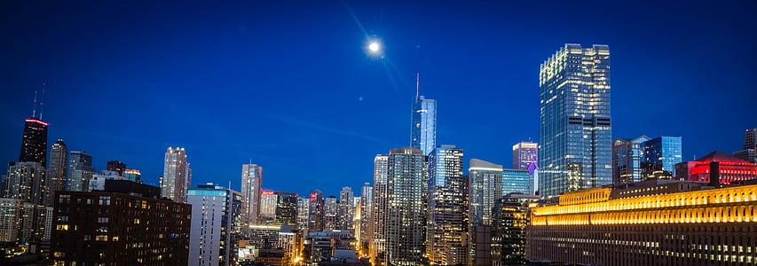 chicago, city, cityscape, moonlight, night, night lights, skyscraper
