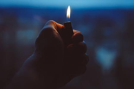 lighter, hand, fire, holding, light, flame, heat