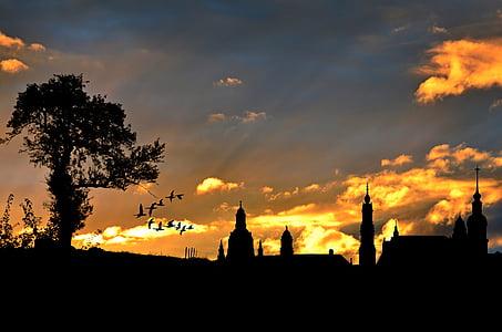 видом на місто, вечірнє небо, силует, Архітектура, Будівля, abendstimmung, Захід сонця