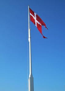 danish flag, flagpole, geflaggt, denmark, danish, flag, national flag