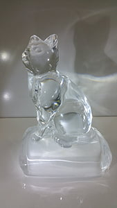 chat, verre, Crystal, Figure