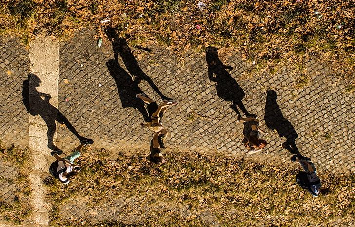 people, walking, strolling, footpath, way, plastered, cobblestones
