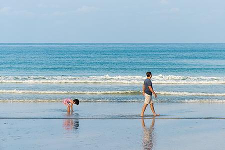 отец, сын, пляж, ходьба, родитель, люди, человек