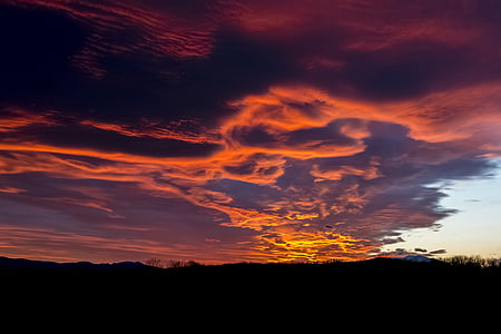 abendstimmung, afterglow, sunset, evening sky, clouds, twilight, beautiful