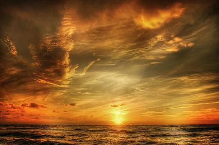 Sjeverno more, Danska, plaža, odmor, nebo, more, blavand