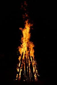 foc, flama, fusta, cremar, foc de fusta, marca, nit