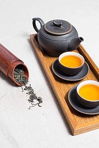 bambu, bebidas, pequeno-almoço, cafeína, Copa, folhas de chá seca, bebida