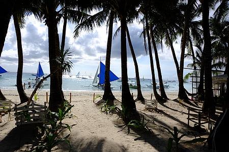 baltas paplūdimys, Boracay, Debesis