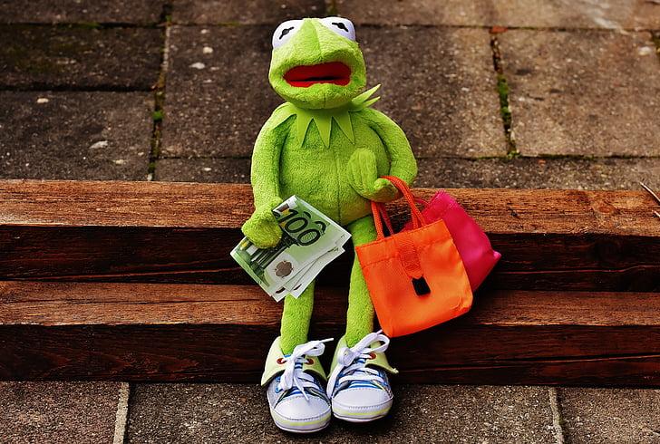 shopping, kermit, money, euro, shopping bags, bags, sport