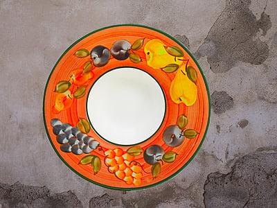 plat, bol, fruita, ingredient, placa, exhibició, servir
