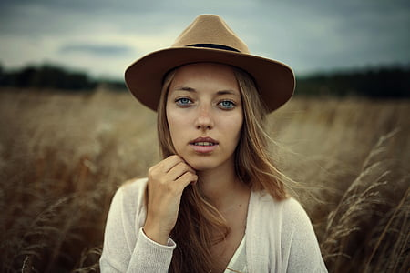 美しい, ファッション, 草, モデル, 人, 肖像画, 女性