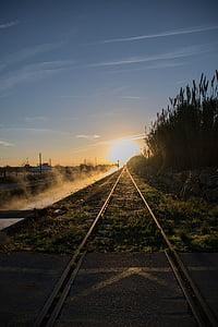 via, dawn, sun, horizon, train