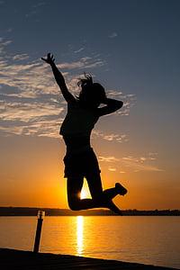 girl, jumping, back-light, sunset, silhouette, women, outdoors