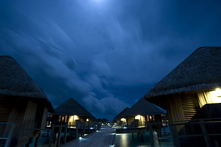 maldives, summer, night, vacations, travel, wood - Material, tropical Climate