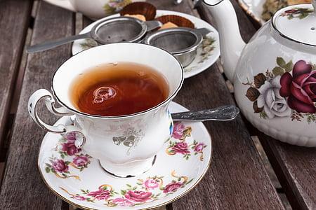 t, serviço, cinza do Earl, xícara de chá, bule de chá, infusor de chá, borda de ouro
