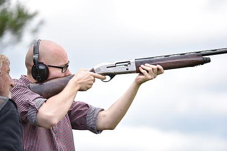 ember, lövés, puska, koncentrált, sziták, vadászat