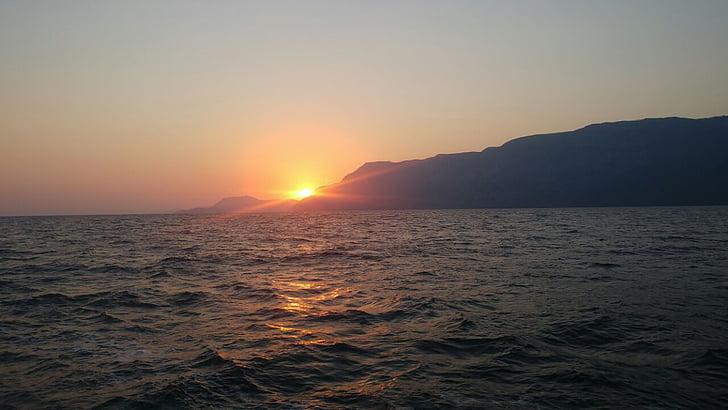 밤 바다, 석양과 바다, 일몰 바다 전망, 붉은 태양
