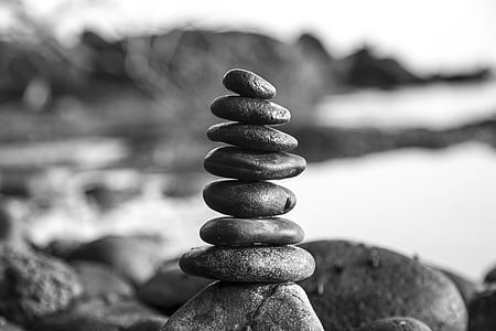 stones, black and white, tower, patience, stone, nature, travel