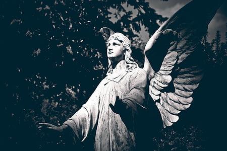 kirkegård, grav, gravsten, figur, grav figur, skulptur, statue