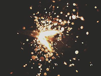 sparkler, sparkling, dark, spark, explode, motion, celebration