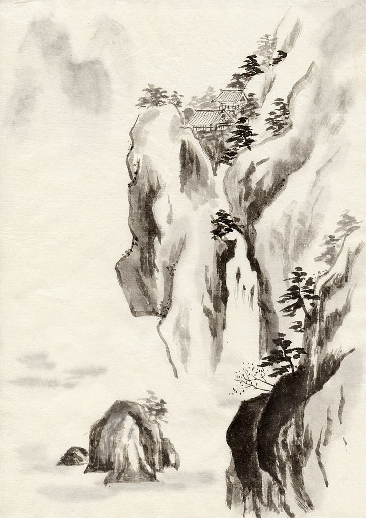 encre, peinture chinoise traditionnelle, paysage