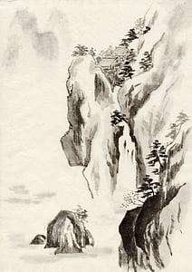 bläck, traditionell kinesisk målning, landskap